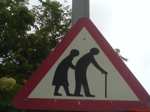 old people sign; generation gap