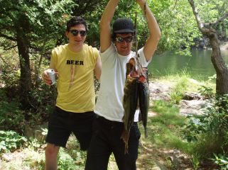 beer, fishing, two guys, river, pannellbytes, Duane Pannell, Redneck Russian